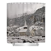 Snowing In The Valley Shower Curtain