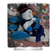 Snowman And His Speeding Plane Shower Curtain