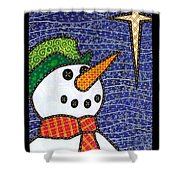 Snowman And Star Shower Curtain