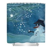 Snowman By Jrr Shower Curtain
