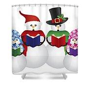 Snowman Christmas Carolers Illustration Shower Curtain