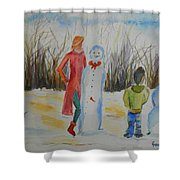 Snowman Competition Shower Curtain