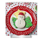 Snowman Cookie Plate Shower Curtain