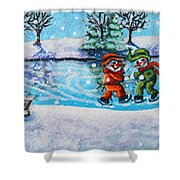 Snowman Friends Ice Skating  P2 Shower Curtain