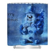 Snowman Merry Christmas Photo Art 01 Shower Curtain
