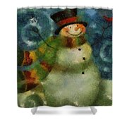 Snowman Photo Art 16 Shower Curtain