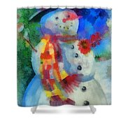 Snowman Photo Art 53 Shower Curtain