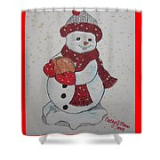 Snowman Playing Basketball Shower Curtain
