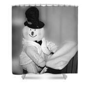 Snowman Playing The Piano In Bw Shower Curtain