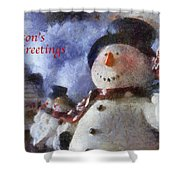 Snowman Season Greetings Photo Art 01 Shower Curtain