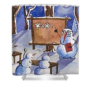 Snowman University Shower Curtain