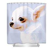 Snowman - White Chihuahua Shower Curtain