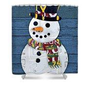 Snowman Winter Fun License Plate Art Shower Curtain
