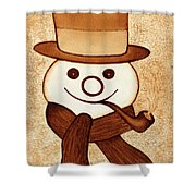 Snowman With Pipe And Topper Original Coffee Painting Shower Curtain