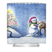 Snowman's X'mas Shower Curtain