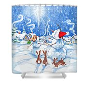 Snowmen And Christmas Star Shower Curtain