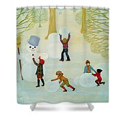 Snowmen Shower Curtain by Ditz