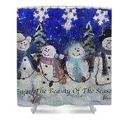 Snowmen Enjoy The Beauty Photo Art Shower Curtain