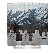Flatiron Snowmen. Shower Curtain