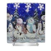 Snowmen Merry Christmas Photo Art Shower Curtain