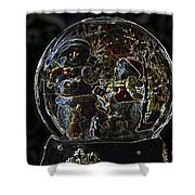 Snowmen Neon Water Globe Shower Curtain