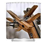 Winter Laundry Day Shower Curtain