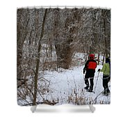 Snowshoeing In The Park Shower Curtain