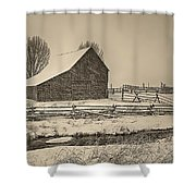 Snowstorm At The Ranch Sepia Shower Curtain