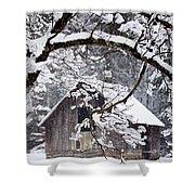 Snowy Barn 2 Shower Curtain