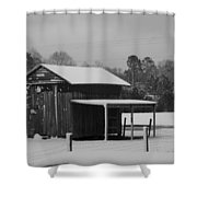 Snowy Barn Bw Shower Curtain