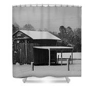 Snowy Barn Bw Shower Curtain by Nelson Watkins