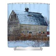 Snowy Barn Shower Curtain