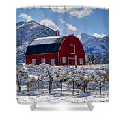 Snowy Barn In The Mountains - Utah Shower Curtain