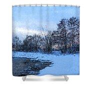Snowy Beach Impressions Shower Curtain