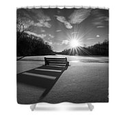 Snowy Bench Bw Shower Curtain