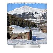 Snowy Cabins Shower Curtain