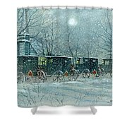 Snowy Carriages Shower Curtain