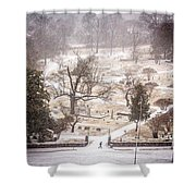 Snowy Cemetery Shower Curtain