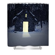 Snowy Chapel At Night Shower Curtain