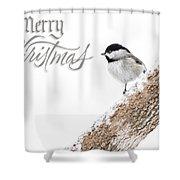 Snowy Chickadee Christmas Card Shower Curtain