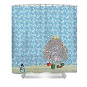 Snowy Christmas Shower Curtain