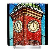 Snowy Clock Tower Shower Curtain