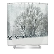 Snowy Day In The Tetons Shower Curtain