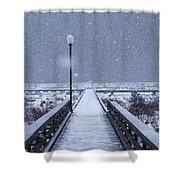 Snowy Day On The Boardwalk Shower Curtain
