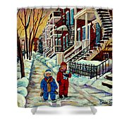 Snowy Day Rue Fabre Le Plateau Montreal Art Winter City Scenes Paintings Carole Spandau Shower Curtain