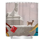 Snowy Evening In The City Shower Curtain