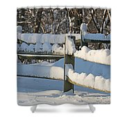 Snowy Fence Shower Curtain