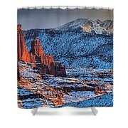 Snowy Fisher Towers Shower Curtain