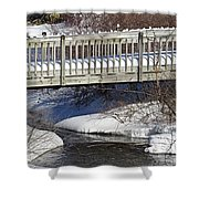 Snowy Foot Bridge Shower Curtain