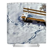 Snowy Foot Prints Around Snow Covered Park Bench Shower Curtain
